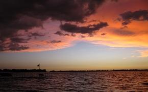 Картинка небо, облака, закат, озеро, Природа, sky, nature, sunset, clouds, lake