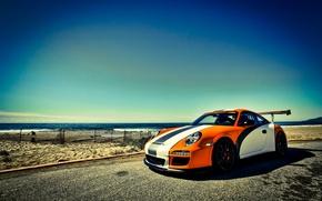 Картинка GT3, море, порше, orange, оранжевый, Porsche, 911, небо