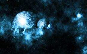 Картинка космос, синий, планеты