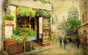 Картинка город, улица, маленький, ресторан, старый, франция, vintage, Old street