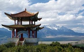 Картинка горы, япония, вид, храм