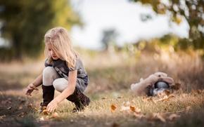 Картинка девочка, осень, листья