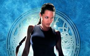 Картинка девушка, фон, Анджелина Джоли, Angelina Jolie, Лара Крофт, постер, Lara Croft, Лара Крофт: Расхитительница гробниц, …