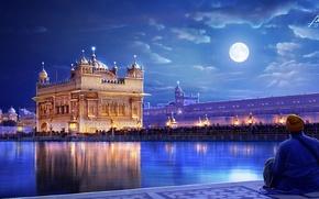 Картинка арт, люди, город, огни, луна, человек, ночь, India, Punjab, The Golden temple, река