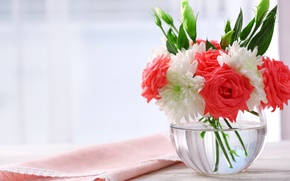 Картинка розы, букет, хризантемы, bouquet