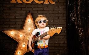 Картинка звезда, гитара, ребенок, мальчик, очки, guitar, музыкант, style, boy, child