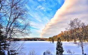 Картинка Canada, Winter, Water, Snow, clouds, Dawn, Blue sky, North wood, Ice Lake, Cold scenery, morning …