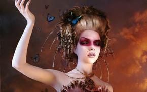 Обои макияж, Бабочки, прическа
