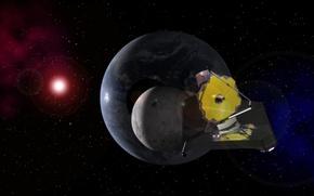 Обои Земля, Луна, Солнце, телескоп, Джеймс Уэбб