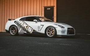 Картинка nissan, white, wheels, japan, jdm, tuning, gtr, race, speed, racing, r35, nismo, hks, datsun