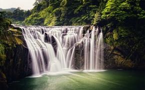 Картинка лес, природа, водопад, джунгли, Taiwan, Shifen Waterfall