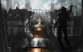Картинка ночь, мост, трубы, город, оружие, поезд, робот, шляпа, арт, лава, пропасть, охотник, арбалет