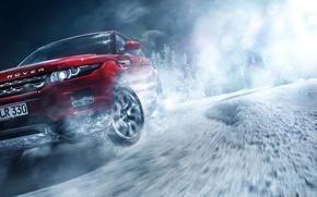 Картинка Red, Land Rover, Range Rover, Car, Front, Snow, Evoque, Skid