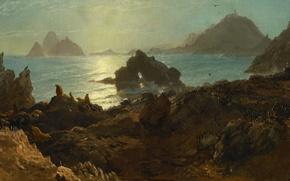 Обои пейзаж, природа, картина, Альберт Бирштадт, Острова Фараллон