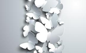 Картинка бабочки, рендеринг, фон, белые