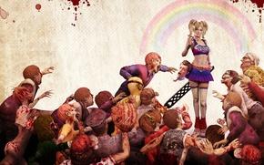 Картинка девушка, кровь, голова, зомби, электропила, Lollipop chainsaw