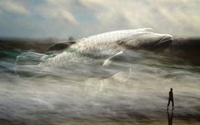 Картинка море, человек, рыба