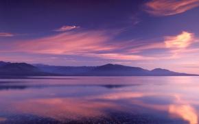 Картинка горы, озеро, отражение, цвет, Облака