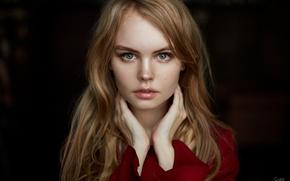 Картинка взгляд, девушка, фон, модель, портрет, прическа, Анастасия Щеглова, Anastasiya Scheglova, Sergey Ruban