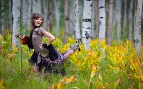 Картинка лес, цветы, скрипка, violin, Линдси Стирлинг, Lindsey Stirling
