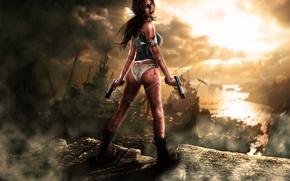 Картинка девушка, лучи, тучи, камни, кровь, пистолеты, корабли, Tomb Raider, Lara Croft, повязки