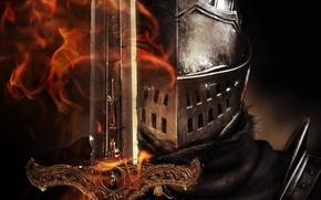 Картинка пламя, меч, шлем, броня, рыцарь, Dark Souls