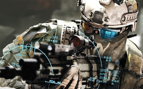 Картинка оружие, солдат, автомат, прицел, электроника, soldier, Tom Clancy's Ghost Recon: Future Soldier