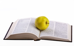 Картинка green, apple, white, food, words, book, reading, degree, teacher, smart, novel, library, read, healthy, isolated, ...