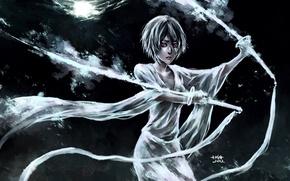 Картинка девушка, ленты, оружие, луна, меч, арт, bleach, kuchiki rukia, nanfe