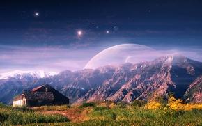 Картинка пейзаж, горы, дом, фантастика, арт