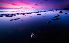 Картинка море, волны, рассвет, Lines