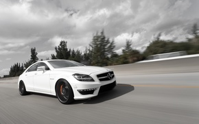 Картинка белый, Mercedes-Benz, скорость, AMG, мерседес бенц, CLS-Klasse, C218, CLS 63