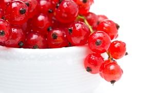 Картинка капли, макро, ягоды, тарелка, красная, смородина