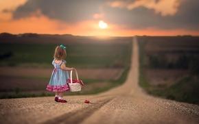 Картинка дорога, цветок, простор, девочка, корзинка
