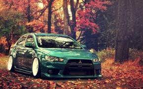 Картинка осень, лес, Lancer, ево