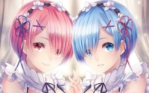 Картинка лица, anime, art, сёстры, Ram, Rem, Re: Zero kara Hajimeru Isekai Seikatsu