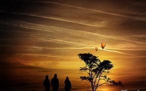 Картинка облака, дерево, шары, Люди