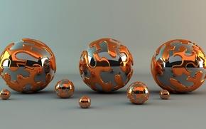 Картинка металл, абстракция, отражение, узор, блеск, шар, шарик