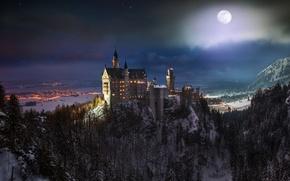 Картинка ночь, луна, Замок Нойшванштайн, юго-западная Бавария, юг Германии