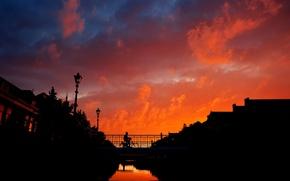 Картинка мост, Закат, велосипедист