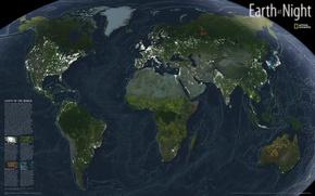 Картинка свет, ночь, город, океан, мир, остров, Земля, континент