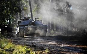 Картинка лес, танк, USA, США, военная техника, Abrams M1A1