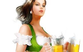 Картинка взгляд, девушка, лицо, фон, пиво, кружки, живопись, Tatiana Nikitina