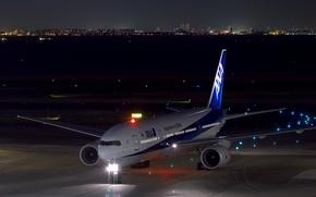 Обои огни, пассажирский, ночь, Boeing, самолёт, аэродром, 777-200