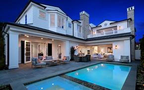 Картинка дизайн, огни, дом, вилла, интерьер, вечер, бассейн, США, Newport Beach