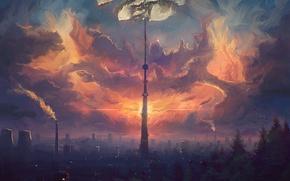 Картинка небо, облака, город, башня, дома, арт