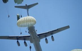 Картинка самолет, прыжок, военные, C-141B, десантирование