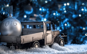 Картинка огни, модель, игрушка, новый год, шар, грузовик, christmas, new year, гирлянда, машинка, пикап, photo, photographer, …