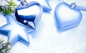 Картинка сердце, игрушки, звезда, Новый Год, голубые, Рождество, декорации, елочные, новогодние