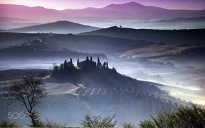 Обои туман, утро, Италия, тоскана